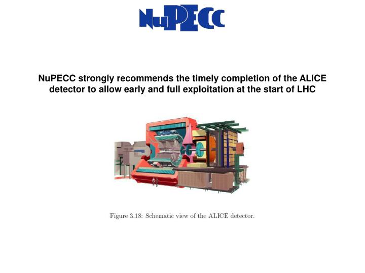 NuPECC strongly recommends the timely completion of the ALICE detector to allow early and full exploitation at the start of LHC