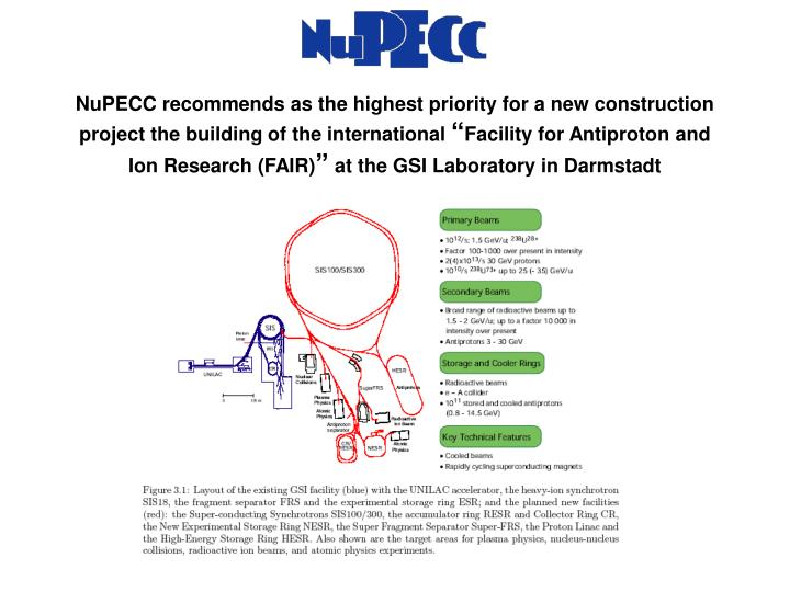 NuPECC recommends as the highest priority for a new construction project the building of the international