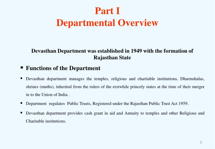 Part i departmental overview