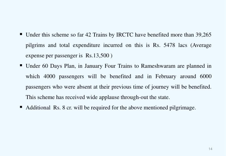 Under this scheme so far 42 Trains by IRCTC have benefited more than 39,265 pilgrims and total expenditure incurred on this is Rs. 5478 lacs (Average expense per passenger is  Rs.13,500 )