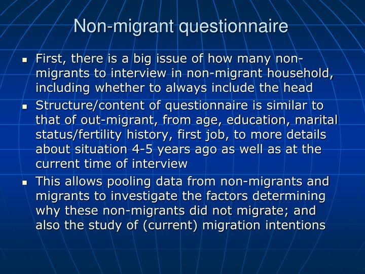 Non-migrant questionnaire