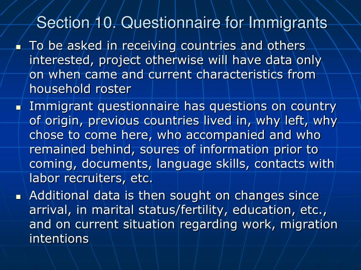 Section 10. Questionnaire for Immigrants