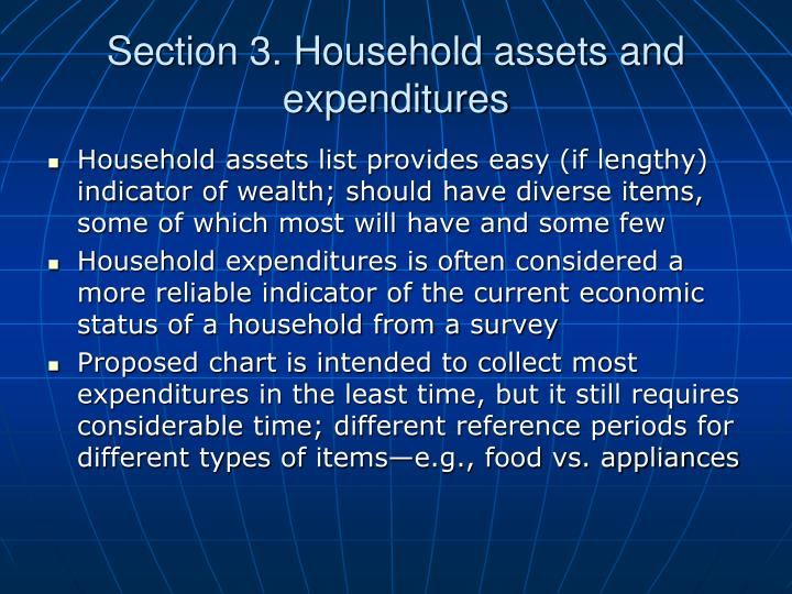 Section 3. Household assets and expenditures
