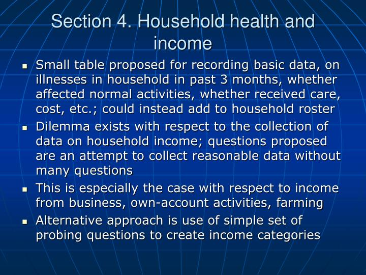 Section 4. Household health and income
