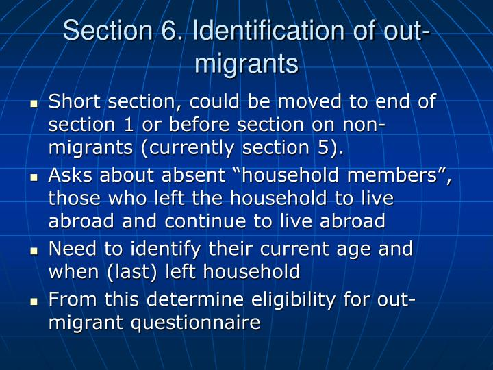 Section 6. Identification of out-migrants