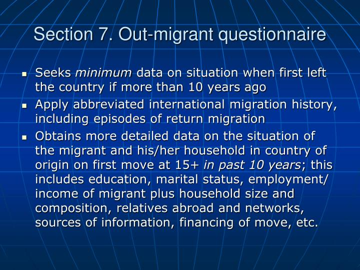 Section 7. Out-migrant questionnaire