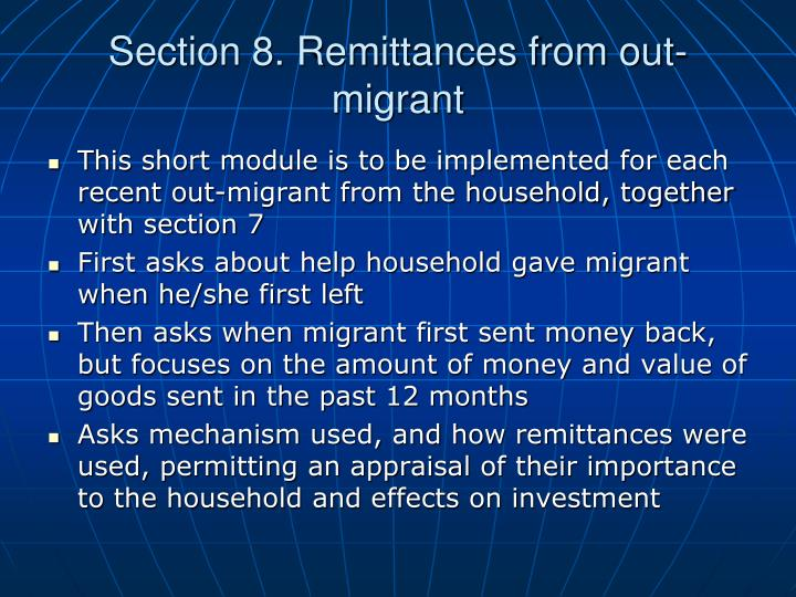 Section 8. Remittances from out-migrant