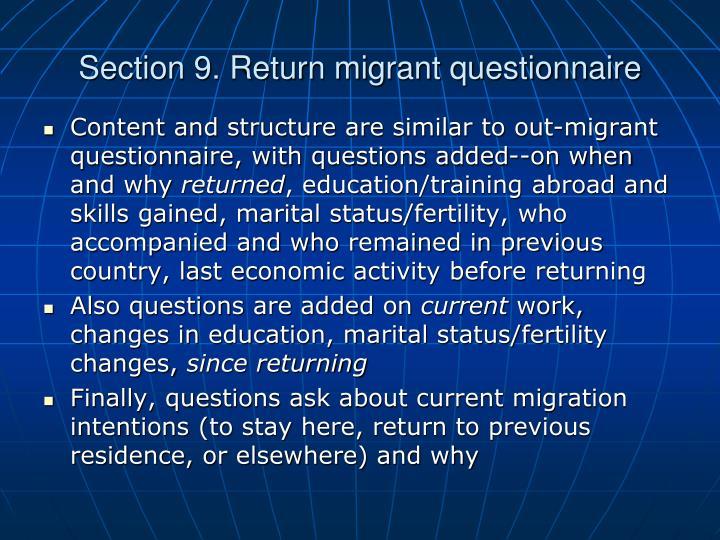 Section 9. Return migrant questionnaire