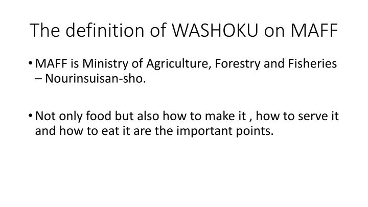 The definition of WASHOKU on MAFF