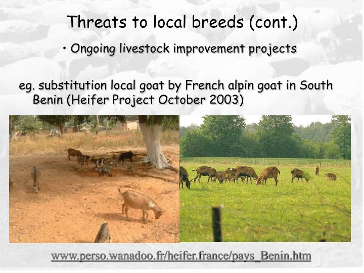 Threats to local breeds (cont.)