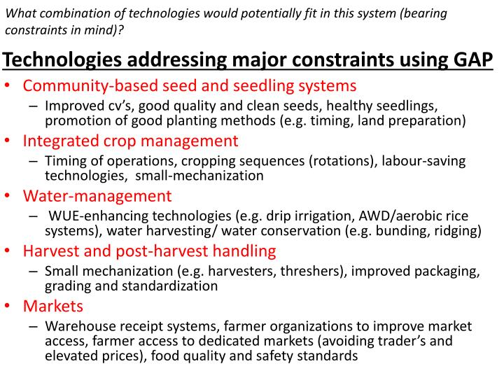 What combination of technologies would potentially fit in this system (bearing constraints in mind)?
