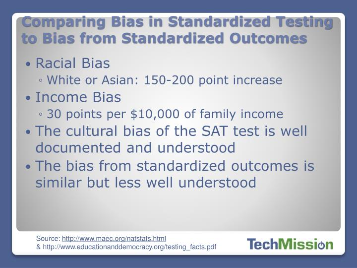 Comparing Bias in Standardized Testing to Bias from Standardized Outcomes
