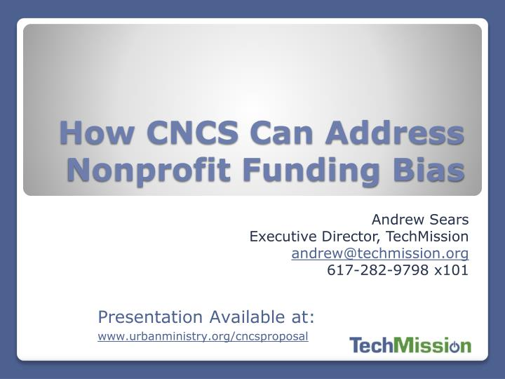 how cncs can address nonprofit funding bias
