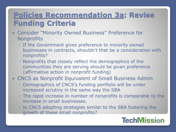 Policies Recommendation 3a