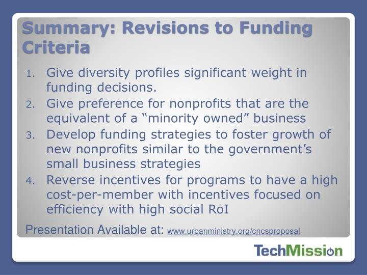 Summary: Revisions to Funding Criteria
