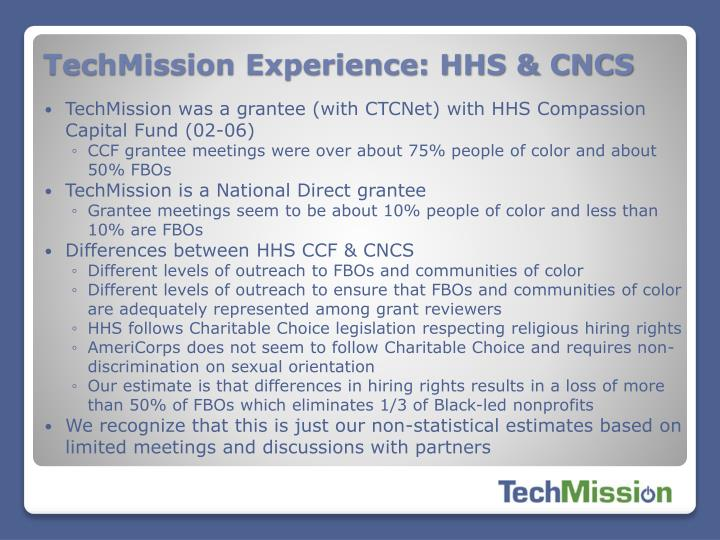 TechMission Experience: HHS & CNCS