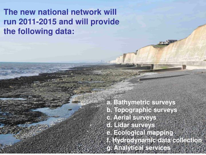 The new national network will run 2011-2015 and will provide the following data: