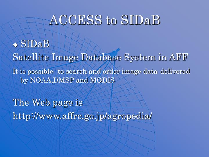 ACCESS to SIDaB