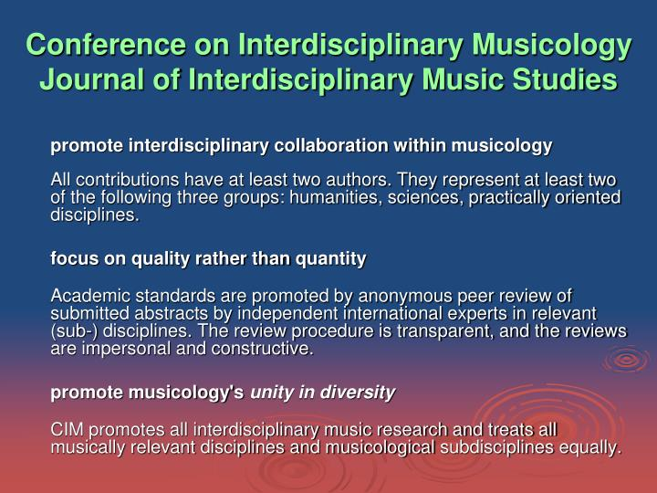 Conference on Interdisciplinary Musicology