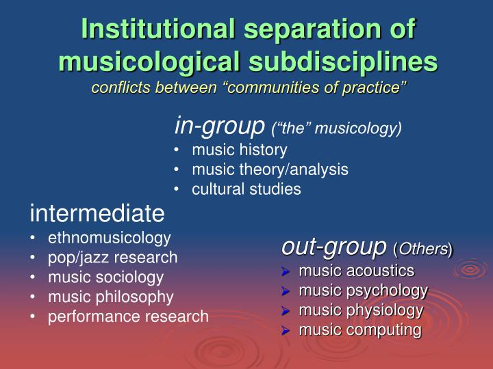 Institutional separation of musicological
