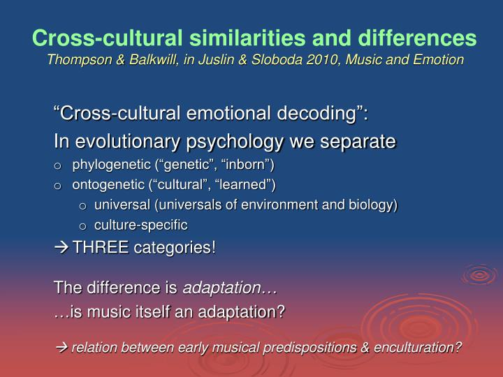 Cross-cultural similarities and differences