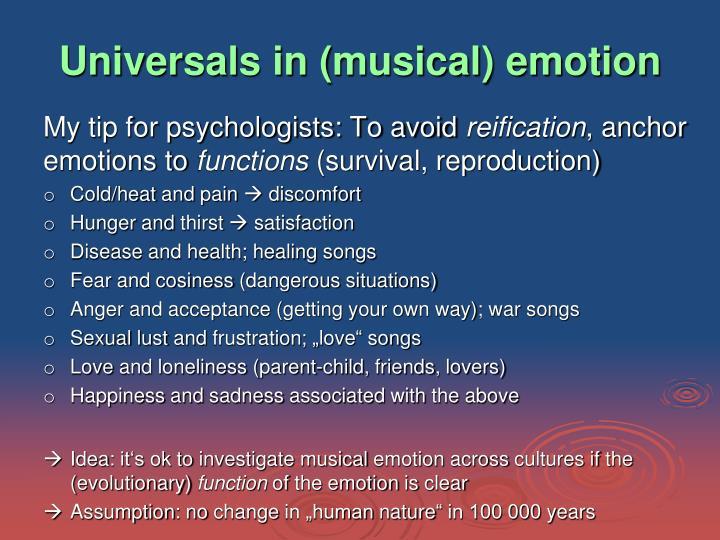 Universals in (