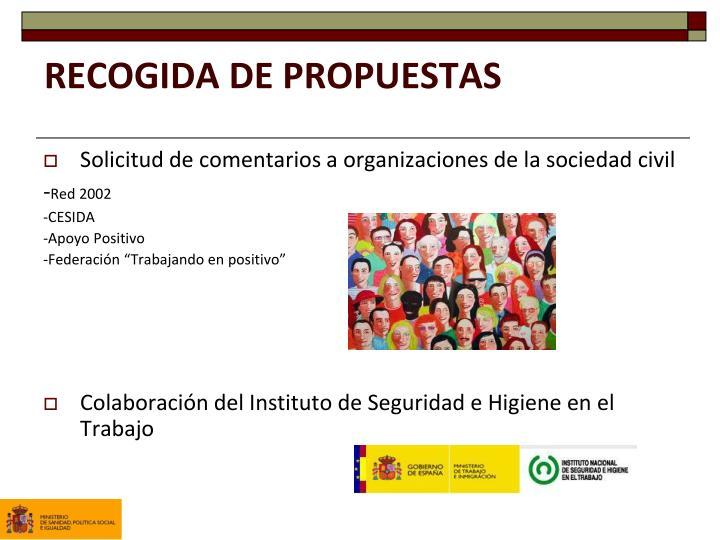 RECOGIDA DE PROPUESTAS