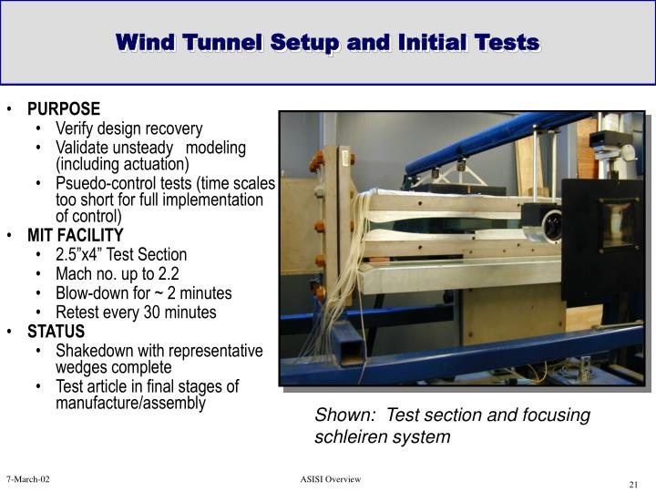 Wind Tunnel Setup and Initial Tests