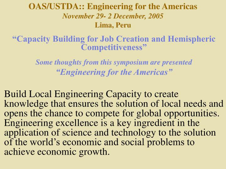 OAS/USTDA:: Engineering for the Americas
