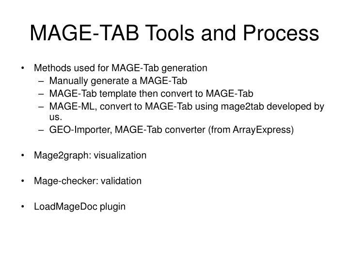 MAGE-TAB Tools and Process