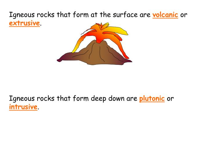 Igneous rocks that form at the surface are