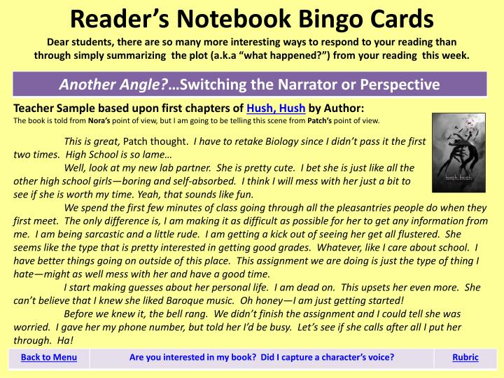 Reader's Notebook Bingo Cards