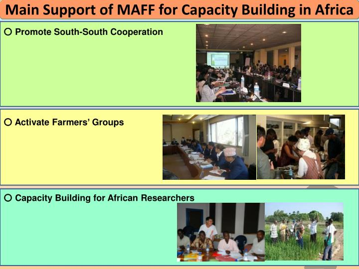Main Support of MAFF for Capacity Building in Africa