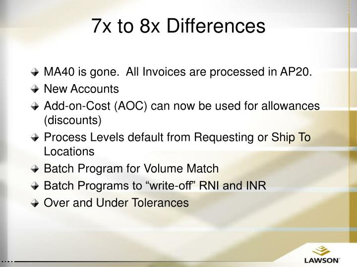 7x to 8x Differences