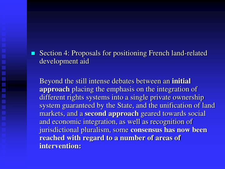 Section 4: Proposals for positioning French land-related development aid