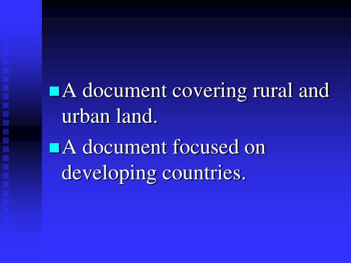 A document covering rural and urban land.