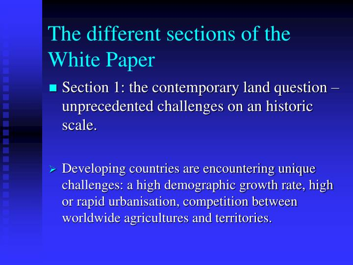 The different sections of the White Paper