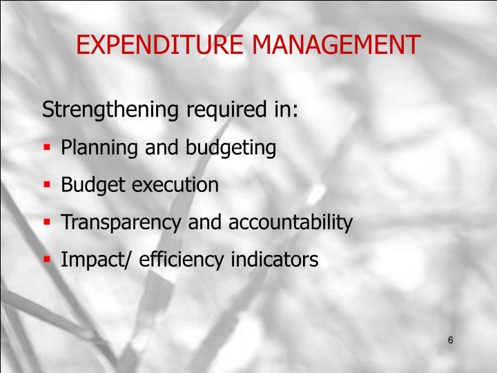 EXPENDITURE MANAGEMENT