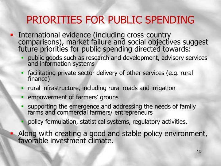 PRIORITIES FOR PUBLIC SPENDING