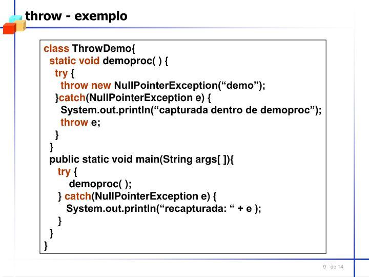 throw - exemplo