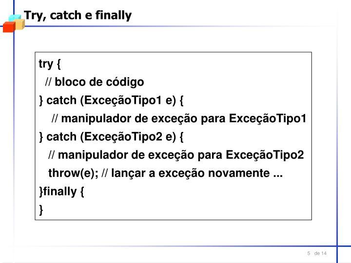 Try, catch e finally