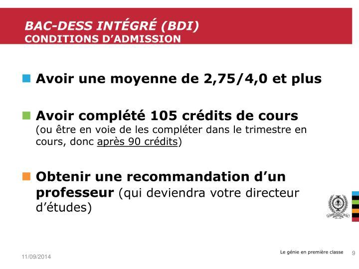 BAC-DESS intégré (
