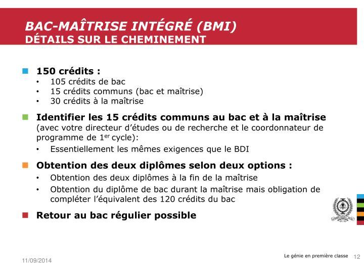 BAC-maîtrise intégré (