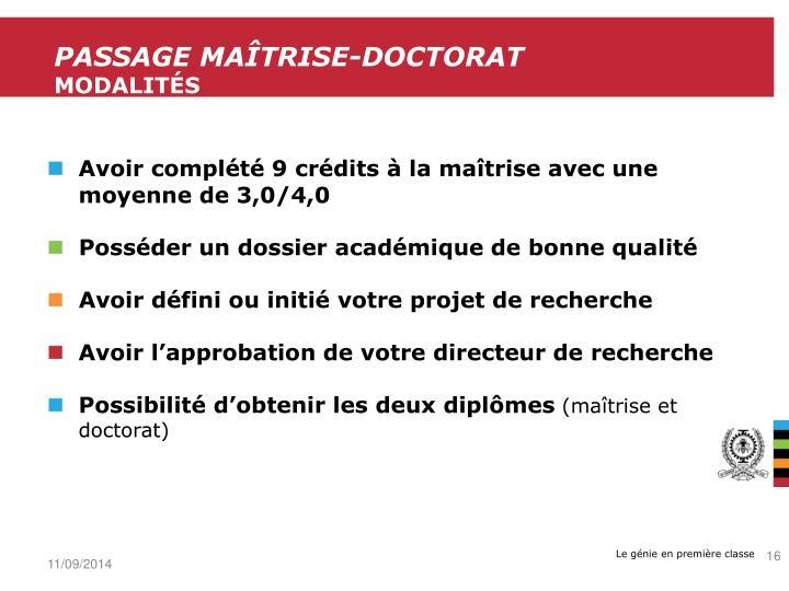 Passage maîtrise-Doctorat