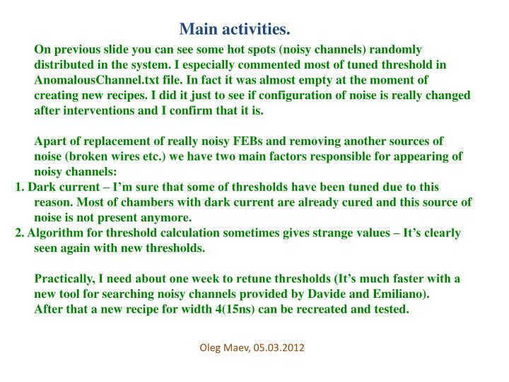 Main activities.