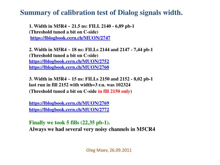 Summary of calibration test of Dialog signals width.