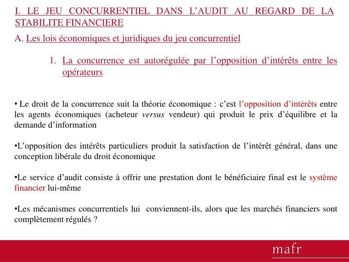 I. LE JEU CONCURRENTIEL DANS L'AUDIT AU REGARD DE LA STABILITE FINANCIERE