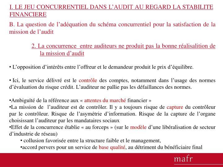 I. LE JEU CONCURRENTIEL DANS L'AUDIT AU REGARD LA STABILITE FINANCIERE
