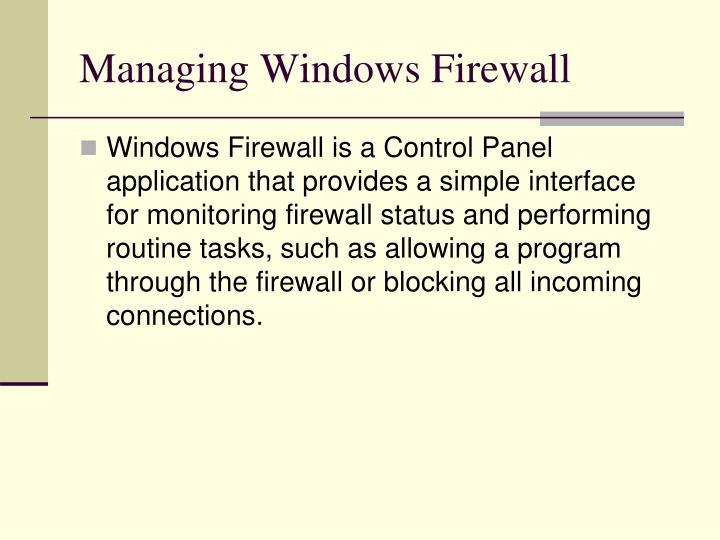 Managing Windows Firewall