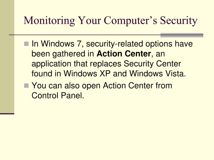 Monitoring Your Computer's Security